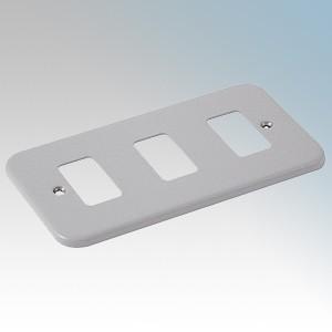 Crabtree 6583/BG Rockergrid Metalclad 3 Module Frontplate 137mm x 77mm
