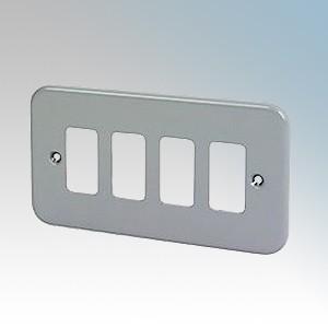 Crabtree 6584/BG Rockergrid Metalclad 4 Module Frontplate 137mm x 77mm