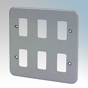 Crabtree 6586/BG Rockergrid Metalclad 6 Module Frontplate 137mm x 137mm