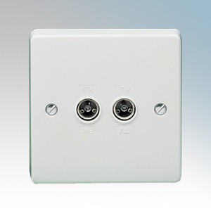 Crabtree 7266 Capital White Moulded Twin Non-Isolated Co-Axial Socket