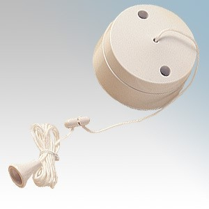 BG Electrical 802 White 2 Way Ceiling Switch With 1.5m Cord 6A
