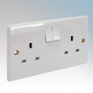 BG Electrical 822DP (pack of 5) Nexus White Moulded 2 Gang DP Switchsocket 13A