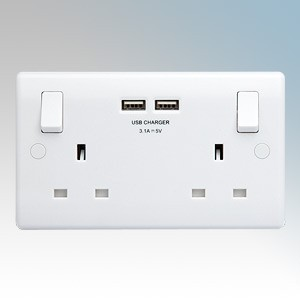 BG Electrical 822U3-01 Nexus White Moulded 2 Gang Double Pole Switchsocket With 2 x USB Ports 3.1A & Outboard Rockers 13A