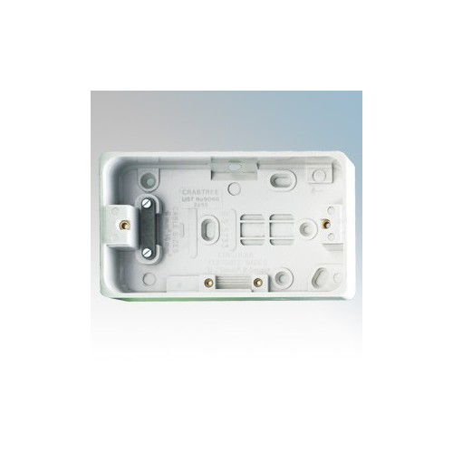 Crabtree 9040 Capital White Moulded 2 Gang Surface Mounting Box With Cable Clamp 34mm