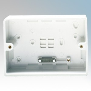Crabtree 9054 Capital White Moulded 2 Gang Surface Mounting Box With Cable Clamp 45mm