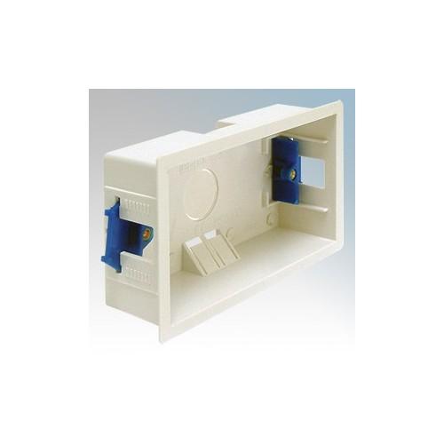 BG Electrical 908 White 2 Gang Dry Lining Mounting Box 35mm Depth