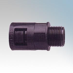 Adaptaflex AL21/M20/A/BL Adaptalok Black Nylon Type A Straight Fitting With Fixed External Thread & Locknut IP66 M20 21mm