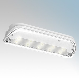 Ansell Lighting ASWTLED/3M Swift White 3 Hour Maintained LED Emergency Bulkhead With Self-Adhesive Legend 3W 240V L:210mm x W...