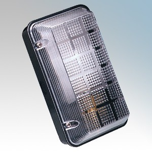 Eterna Black All Polycarbonate Vandal Resistant Bulkhead IP65 1 x 100W BC GLS (Not Included)