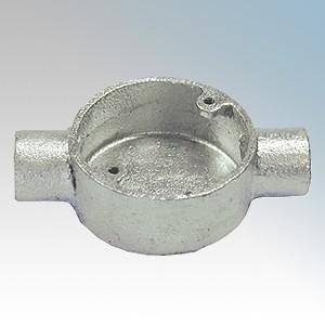 CF202G Galvanised Steel Circular Through Box (2 Way) 20mm