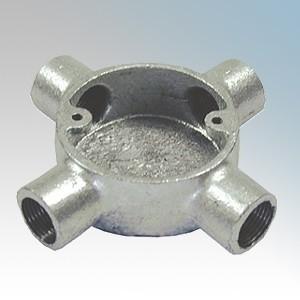 CF204G Galvanised Steel Circular Intersection Box (4 Way) 20mm