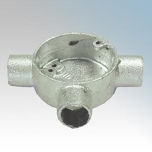 CF253G Galvanised Steel Circular Tee Box (3 Way) 25mm