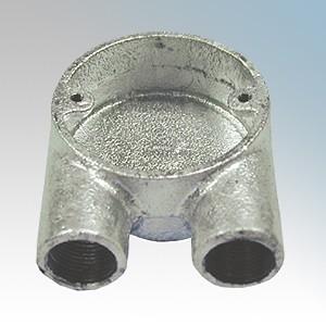 CF25U/G Galvanised Steel Circular Branch U Box (2 Way) 25mm