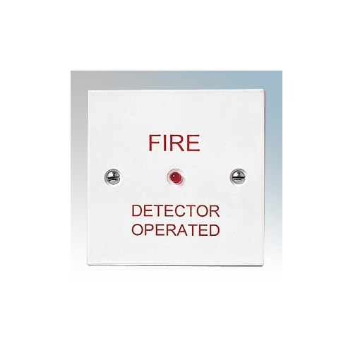 Channel Safety CHRI White Remote Indicator Unit With Red LED Marked 'FIRE DETECTOR OPERATED' 230V