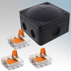 Wiska 10109673 COMBI® 407/WW/3221/B Black Combi 407 Waterproof Junction Box With 3 x Wago 221-413 3 Pole Compact Lever Operated Connector For Solid & Stranded Cable Up to 4mm² IP66 32A L:95mm x W:95mm x D:60mm