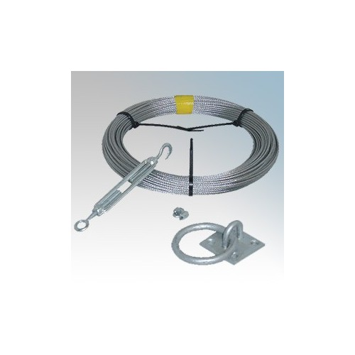 CED CWK30 Galvanised High Tensile Catenary Wire Kit With 30m Galvanised Catenary Wire, 4 x Wire Grips, 2 x Eye (Thimble), 1 x Tensioner, 1 x Ring Plate, 1 x Hook Plate