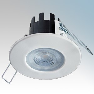 Collingwood DLT388MW5540 H2 LITE Dimmable Fire Rated Downlight With Matt White Bezel, Neutral White LEDs, 55° Beam Angle & Push-Fit Terminal Connector IP65 4.4W 460 Lumens 240V