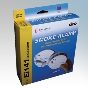 Aico PACK OF 4 Ei141RC Mains Ionisation Smoke Alarms With Hush, Alkaline Battery Back Up & Mounting Plate 240V