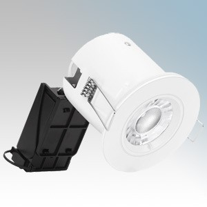 Enlite EN-LEDKIT/30 White Die-Cast Mains Voltage Fixed LED Fire Rated Downlight Kit With EN-DLM981X Downlight, EN-BZ91W White Fixed Bezel & EN-GU005/30 Warm White LED Lamp 5W GU10 240V