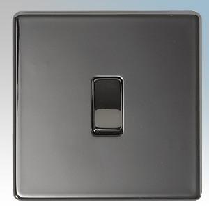 BG Electrical Nexus Black Nickel Screwless Flat Plate 1 Gang Intermediate Plateswitch 10Ax