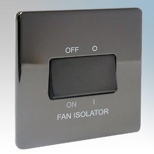 BG Electrical Nexus Brushed Steel Screwless Flat Plate 1 Gang Triple Pole Fan Isolator Switch 10A