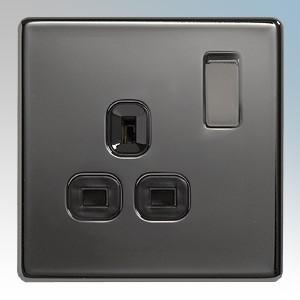 BG Electrical Nexus Black Nickel Screwless Flat Plate 1 Gang DP Switchsocket 13A
