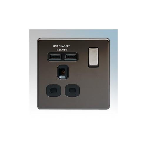 BG Electrical FBN21UB-01 Nexus Black Nickel Screwless Flat Plate 1 Gang DP Switchsocket With 2 x USB Ports 2.1A & Outboard Rocker 13A