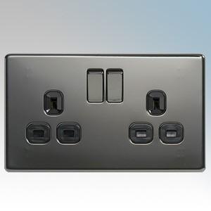 BG Electrical Nexus Black Nickel Screwless Flat Plate 2 Gang DP Switchsocket 13A