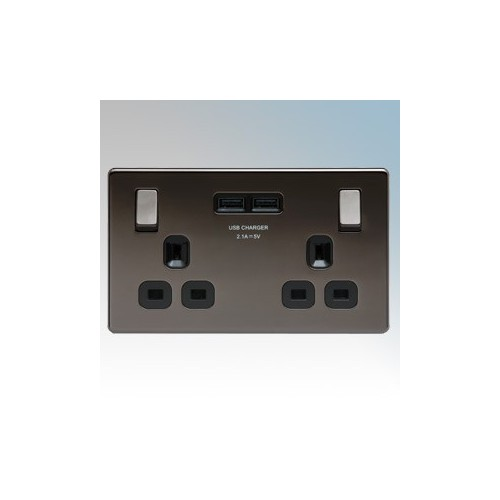 BG Electrical FBN22UB-01 Nexus Black Nickel Screwless Flat Plate 2 Gang DP Switchsocket With 2 x USB Ports 2.1A & Outboard Rockers 13A