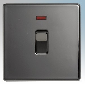 BG Electrical Nexus Black Nickel Screwless Flat Plate Double Pole Switch With Neon 20A