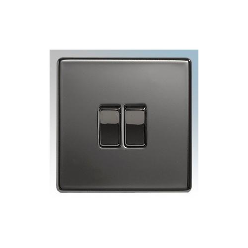BG Electrical Nexus Black Nickel Screwless Flat Plate 2 Gang 2 Way Plateswitch 10Ax