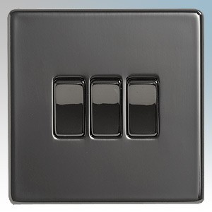 BG Electrical Nexus Black Nickel Screwless Flat Plate 3 Gang 2 Way Plateswitch 10Ax