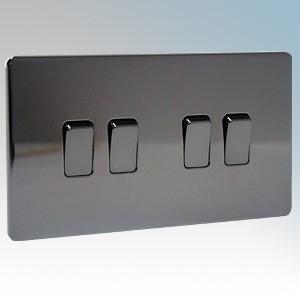 BG Electrical Nexus Black Nickel Screwless Flat Plate 4 Gang 2 Way Plateswitch 10Ax