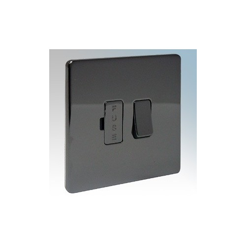 BG Electrical Nexus Black Nickel Screwless Flat Plate Switched DP Fused Connection Unit 13A