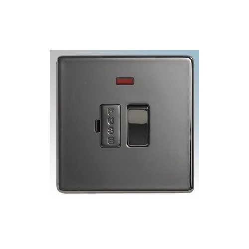 BG Electrical Nexus Black Nickel Screwless Flat Plate Switched DP Fused Connection Unit With Neon 13A