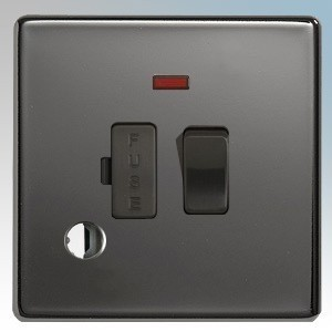 BG Electrical Nexus Black Nickel Screwless Flat Plate Switched DP Fused Connection Unit With Neon & Flex Outlet 13A