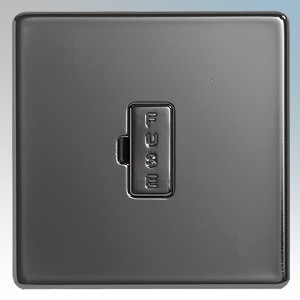 BG Electrical Nexus Black Nickel Screwless Flat Plate Unswitched Fused Connection Unit 13A