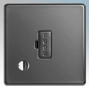 BG Electrical Nexus Black Nickel Screwless Flat Plate Unswitched Fused Connection Unit With Flex Outlet 13A