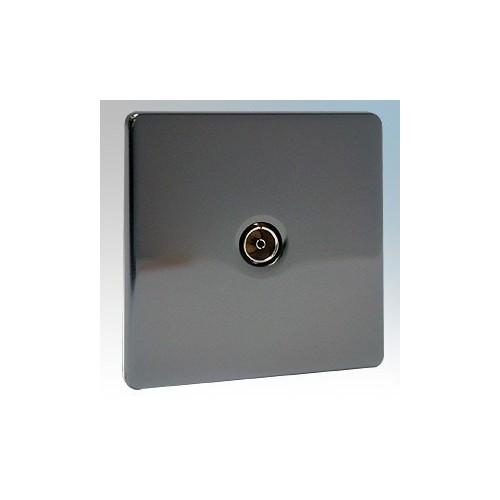 BG Electrical Nexus Black Nickel Screwless Flat Plate Single Non-Isolated Co-Axial Socket