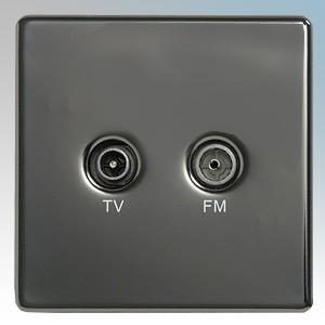 BG Electrical Nexus Black Nickel Screwless Flat Plate Twin Diplex Co-axial Socket ( FM & TV )