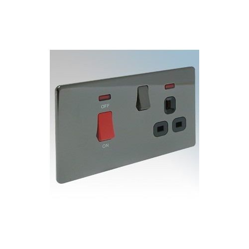 BG Electrical Nexus Black Nickel Screwless Flat Plate DP Cooker Control Unit With 13A Switchsocket & Neons 45A