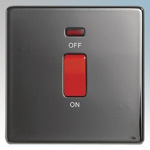 BG Electrical Nexus Black Nickel Screwless Flat Plate Double Pole Switch With Neon 45A
