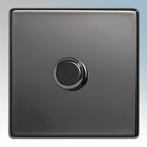 BG Electrical Nexus Black Nickel Screwless Flat Plate 1 Gang 2 Way Push On/Off Dimmer Switch 400W