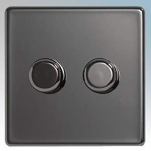 BG Electrical Nexus Black Nickel Screwless Flat Plate 2 Gang 2 Way Push On/Off Dimmer Switch 400W