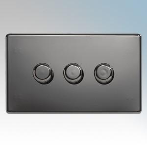 BG Electrical Nexus Black Nickel Screwless Flat Plate 3 Gang 2 Way Push On/Off Dimmer Switch 400W