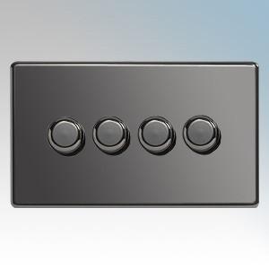BG Electrical Nexus Black Nickel Screwless Flat Plate 4 Gang 2 Way Push On/Off Dimmer Switch 400W
