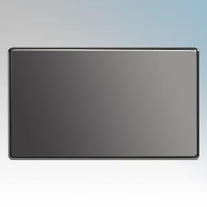 BG Electrical Nexus Black Nickel Screwless Flat Plate 2 Gang Blank Plate
