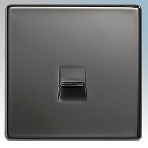 BG Electrical Nexus Black Nickel Screwless Flat Plate Single Flush Mounting BT Secondary Telephone Socket With IDC Terminals