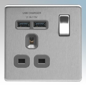 BG Electrical FBS21UG Nexus Brushed Steel Screwless Flat Plate 1 Gang DP Switchsocket With 2 x USB Ports 2.1A & Outboard Rocker 13A