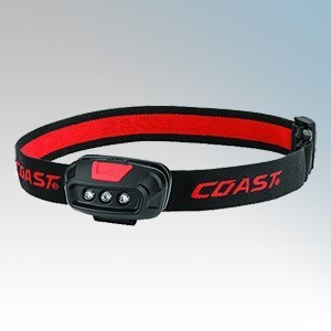 Coast Torches FL14 Black LED Head Torch With Dual Colour White/Red Adjustable LED Output, Comfort Strap & Batteries IPX4 37Lm - 10Lm